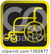 Royalty Free Vector Clip Art Illustration Of A Golden And Black Wheelchair Icon Button by Lal Perera