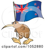 Royalty Free Vector Clip Art Illustration Of A Kiwi Bird With A New Zealand Flag 1 by Lal Perera #COLLC1052880-0106