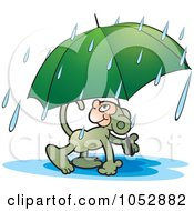 Royalty Free Vector Clip Art Illustration Of A Monkey Carrying An Umbrella by Lal Perera