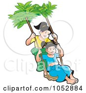 Royalty Free Vector Clip Art Illustration Of Two Sinhala New Year Girls Swinging by Lal Perera