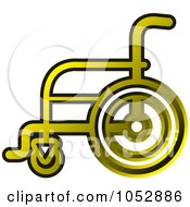 Royalty Free Vector Clip Art Illustration Of A Gold Wheelchair Icon by Lal Perera