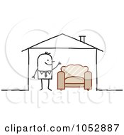 Royalty Free Vector Clip Art Illustration Of A Stick Figure Man With A Chair In His House by NL shop