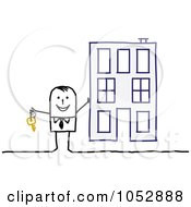 Royalty Free Vector Clip Art Illustration Of A Stick Figure Man Holding The Key To An Apartment Building by NL shop