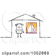 Royalty Free Vector Clip Art Illustration Of A Stick Figure Woman Outside Her House by NL shop