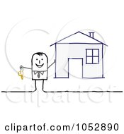 Royalty Free Vector Clip Art Illustration Of A Stick Figure Man Holding The Key To A House