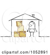 Royalty Free Vector Clip Art Illustration Of A Stick Figure Man With Moving Boxes In His House