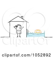 Royalty Free Vector Clip Art Illustration Of A Stick Figure Woman With A Swimming Pool In Her Back Yard by NL shop
