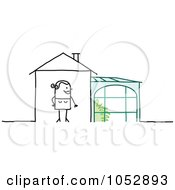 Royalty Free Vector Clip Art Illustration Of A Stick Figure Woman With A Plant Room