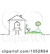Royalty Free Vector Clip Art Illustration Of A Stick Figure Man In His House With A Back Yard