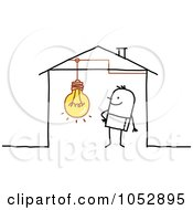 Royalty Free Vector Clip Art Illustration Of A Stick Figure Man With A Light Bulb In His House by NL shop