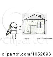 Royalty Free Vector Clip Art Illustration Of A Stick Figure Man Designing A Home by NL shop