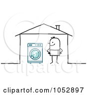 Royalty Free Vector Clip Art Illustration Of A Stick Figure Man With A Washing Machine In His House by NL shop