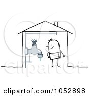 Royalty Free Vector Clip Art Illustration Of A Stick Figure Man With A Faucet In His House by NL shop