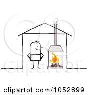 Royalty Free Vector Clip Art Illustration Of A Stick Figure Man With A Fireplace In His House by NL shop