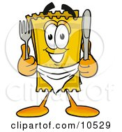 Yellow Admission Ticket Mascot Cartoon Character Holding A Knife And Fork
