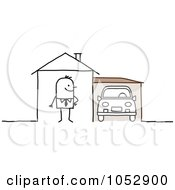 Stick Figure Man With A Car In His Garage