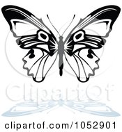 Black And White Butterfly Logo With A Reflection 14