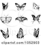 Digital Collage Of Black And White Butterfly Logos