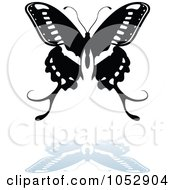 Black And White Butterfly Logo With A Reflection 17