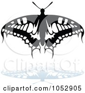 Black And White Butterfly Logo With A Reflection 13