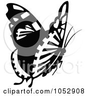 Black And White Flying Butterfly Logo 13