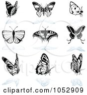 Royalty-Free Vector Clipart Illustration of a Digital Collage Of Black And White Butterfly Logos And Reflections by dero #COLLC1052909-0053