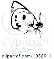 Black And White Butterfly Logo With A Reflection 15