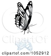 Black And White Butterfly Logo With A Reflection 20