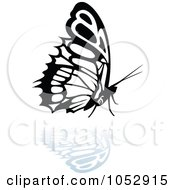 Black And White Butterfly Logo With A Reflection 19