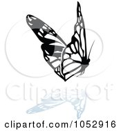 Black And White Butterfly Logo With A Reflection 18