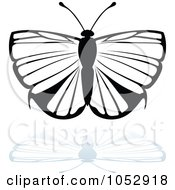 Black And White Butterfly Logo With A Reflection 16