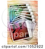 Royalty Free Vector Clip Art Illustration Of A Stack Of Skateboarding Polaroid Frames On Wood