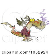 Royalty Free Vector Clip Art Illustration Of A Cartoon Mad Dragon Boss Holding A Whip
