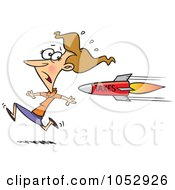 Royalty Free Vector Clip Art Illustration Of A Cartoon Business Woman Running From A Tax Rocket