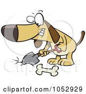 Royalty Free Vector Clip Art Illustration Of A Cartoon Dog Digging A Deposit Hole For A Bone