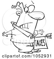 Royalty Free Vector Clip Art Illustration Of A Cartoon Black And White Outline Design Of A Man Being Struck With A Taxes Arrow