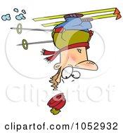 Royalty Free Vector Clip Art Illustration Of A Cartoon Skier Upside Down