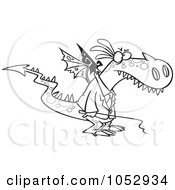 Royalty Free Vector Clip Art Illustration Of A Cartoon Black And White Outline Design Of A Mad Dragon Boss Holding A Whip by toonaday