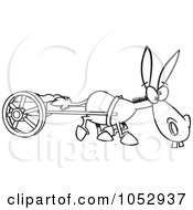 Royalty Free Vector Clip Art Illustration Of A Cartoon Black And White Outline Design Of A Plodding Donkey Pulling A Cart by toonaday