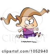 Cartoon Girl Running A Marathon