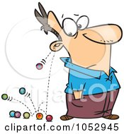 Royalty Free Vector Clip Art Illustration Of Cartoon Marbles Falling Out Of A Mans Ears