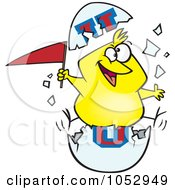 Royalty Free Vector Clip Art Illustration Of A Cartoon Freshmen Chick With A Flag In An Egg Shell