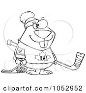 Royalty Free Vector Clip Art Illustration Of A Cartoon Black And White Outline Design Of A Hockey Beaver
