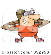 Royalty Free Vector Clip Art Illustration Of A Cartoon Aviator Wearing Strap On Wings by toonaday