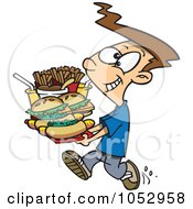 Royalty Free Vector Clip Art Illustration Of A Cartoon Boy Carrying A Heavy Fast Food Tray by toonaday