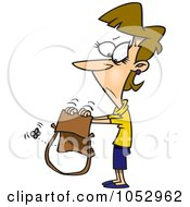 Cartoon Woman Shaking Her Empty Purse by toonaday