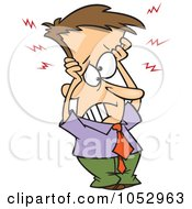 Royalty Free Vector Clip Art Illustration Of A Cartoon Frazzled Businessman Holding His Head by toonaday