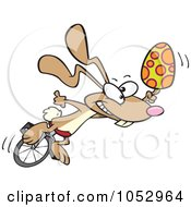 Royalty Free Vector Clip Art Illustration Of A Cartoon Talented Easter Bunny With An Egg On A Unicycle by toonaday