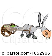Cartoon Plodding Donkey Pulling A Cart