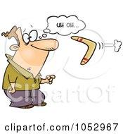 Royalty Free Vector Clip Art Illustration Of A Cartoon Man Watching A Boomerang Reverse On Him